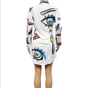 Floral Print Button Down Collar Shirt Mini Dress